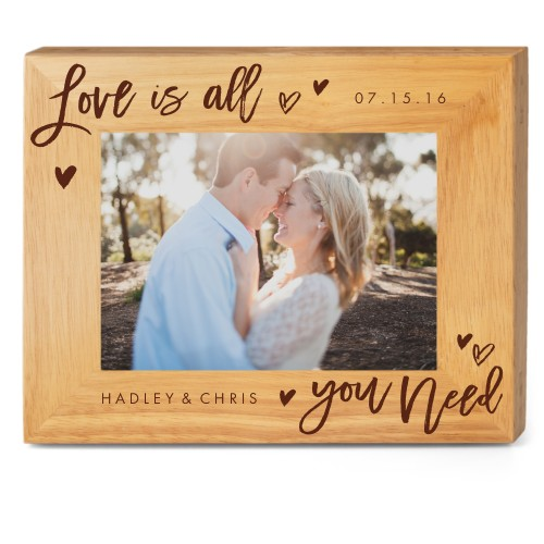 All You Need Wood Frame, - Photo insert, 10x8 Engraved Wood Frame, White
