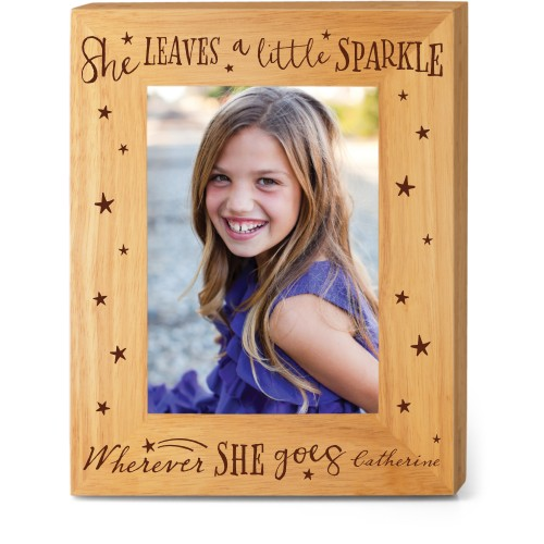 She Sparkles Wood Frame, - Photo insert, 8x10 Engraved Wood Frame, White