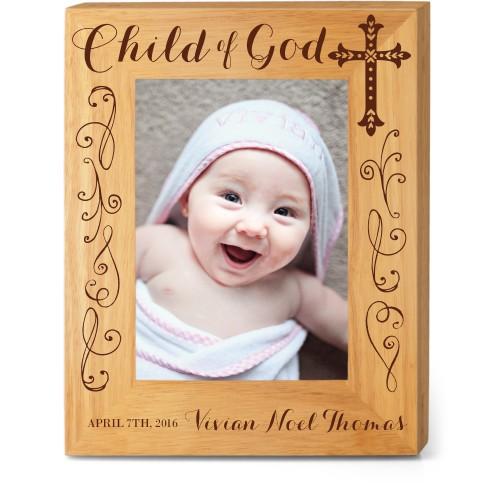 Child of God Wood Frame, - No photo insert, 8x10 Engraved Wood Frame, White