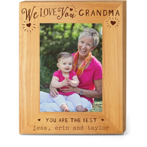 Hearts Full Grandma Wood Frame, - No photo insert, 8x10 Engraved Wood Frame, White