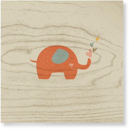 Heart Elephant Wood Wall Art, Single piece, 12 x 12 inches, Multicolor