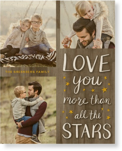 Whimsy Love Stars Wood Wall Art, Single piece, 8 x 10 inches, Brown
