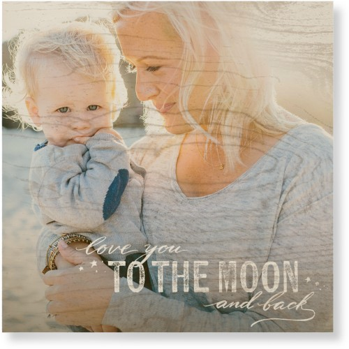 To The Moon and Back Script Wood Wall Art, Single piece, 16 x 16 inches, White