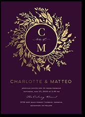 garland initials wedding invitation