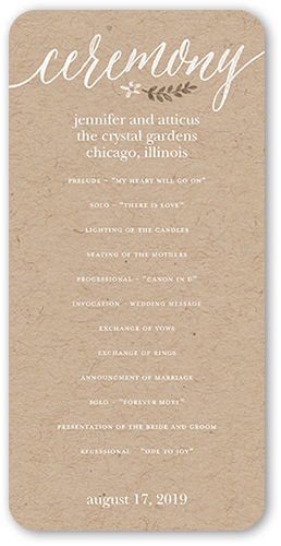 Delightful Blooms Wedding Program