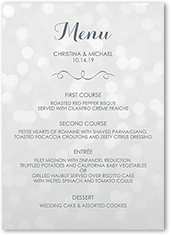 bokeh blur wedding menu