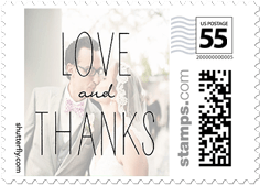 Love And Thanks Grid Personalized Postage Stamps