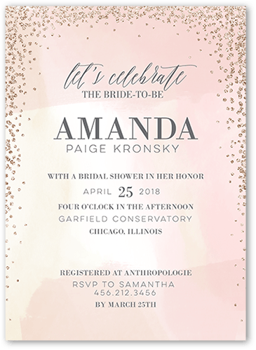 Dazzling Watercolor 5x7 Bridal Shower Invitations Shutterfly