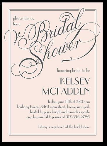 Framed Elegant Wishes Bridal Shower Invitation, Square Corners