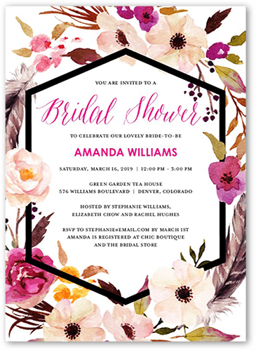 Flowery Circlet Bridal Shower Invitation, Square Corners