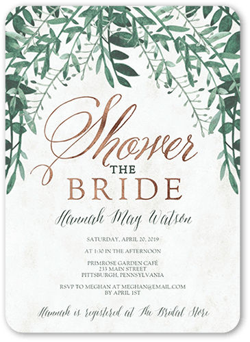 Organic Greenery Bridal Shower Invitation, Rounded Corners