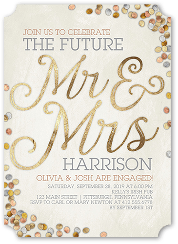 Shimmering Future Engagement Party Invitation, Ticket Corners