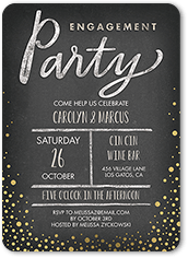 Speckled Vignette Engaged Engagement Party Invitation
