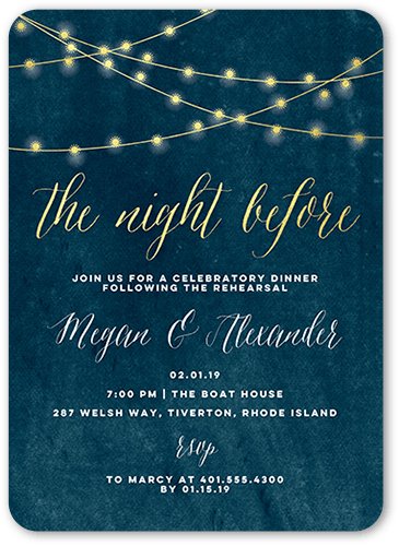 glowing night rehearsal dinner invitation