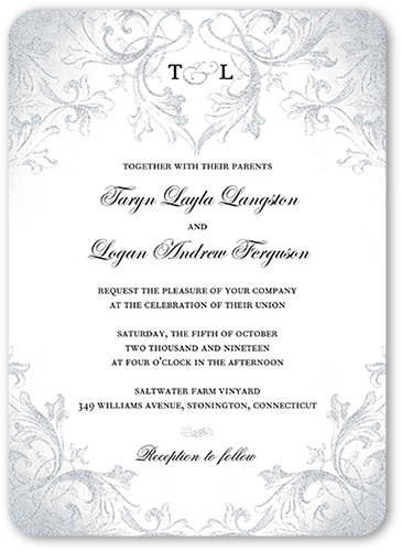 Faded Scroll Wedding Invitation, Rounded Corners