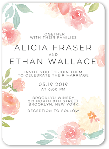 Floral Accessory Wedding Invitation, Rounded Corners