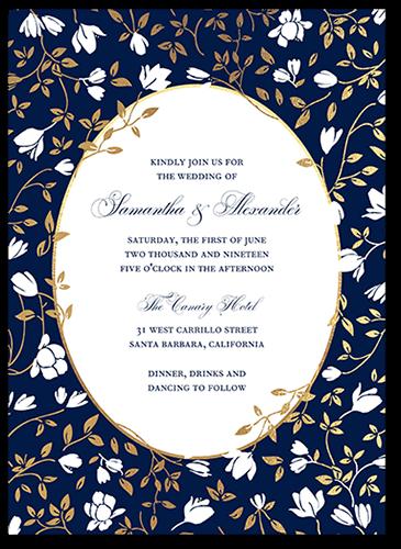 Floral Trellis Wedding Invitation, Square Corners