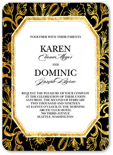Gilded Lilies Wedding Invitation, Rounded Corners