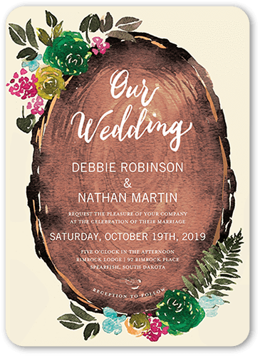 Gorgeous Blossoms Wedding Invitation, Square