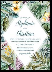 tropical diamond wedding invitation