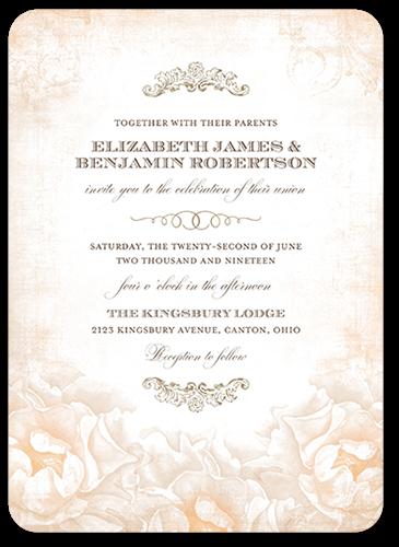 Precious Peonies Wedding Invitation, Rounded Corners