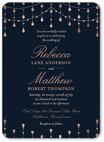 Radiant Sparkles Wedding Invitation, Rounded Corners