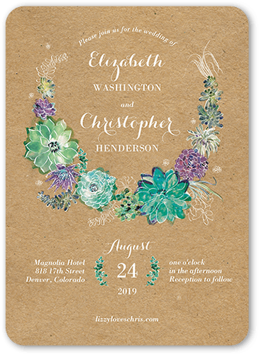 Splendid Succulent Wedding Invitation Visible Part Transiotion Front