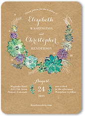 Great Splendid Succulent Wedding Invitation