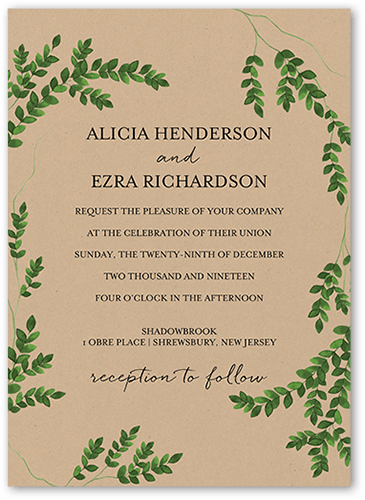 Charming Greenery Wedding Invitation, Square Corners