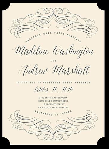 Terrific Twirls Wedding Invitation, Ticket Corners