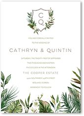 tropical herald wedding invitation
