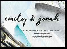 ultramodern brushstrokes wedding invitation