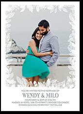 wispy leaves wedding invitation