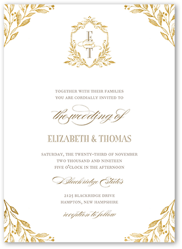 Classic Herald Wedding Invitation, Square Corners