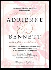 faintly floral wedding invitation