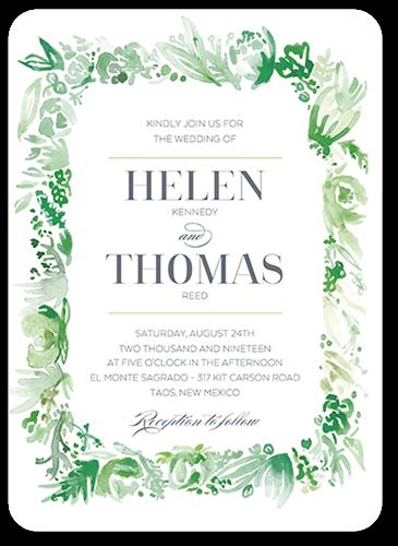 Delicate Fringe Wedding Invitation, Rounded Corners