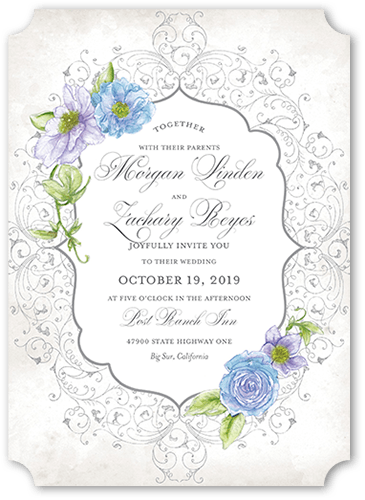 Elegant Enchantment Wedding Invitation, Ticket Corners