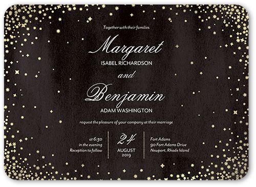 Elegant Sky Wedding Invitation, Rounded Corners