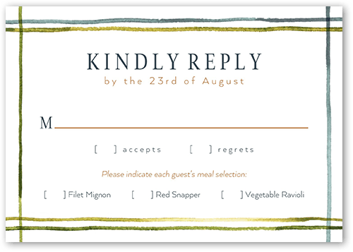 Painted Landscape Wedding Response Card, Square Corners
