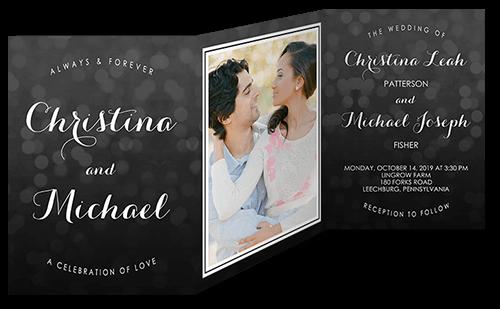 Bokeh Blur Wedding Invitation, Square