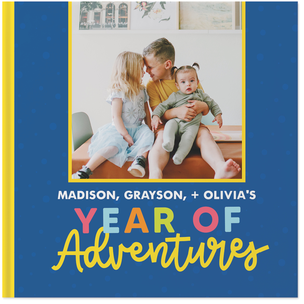 bright and bold kids year in review by sarah hawkins designs photo book